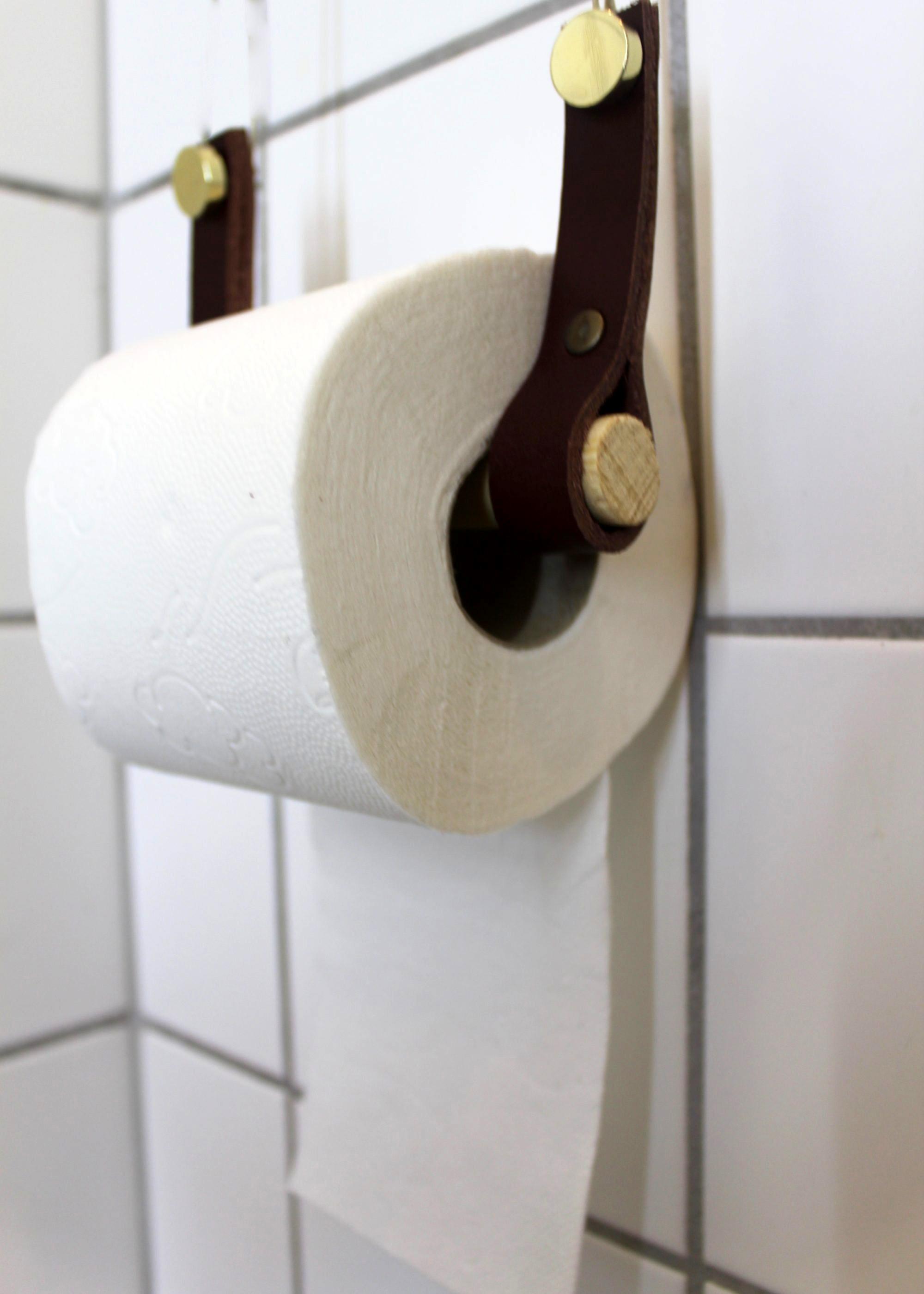 Toiletrulleholder i mørkebrunt læder
